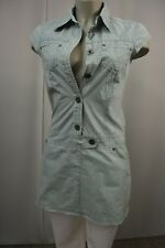 SOCCX Kleid Blusenkleid Hemdkleid long Tunika Gr.S pastellgrün  TOP