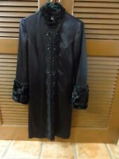 Women's Stunning Hype Long Black Silk Jacket with faux fur Collar and Forearms