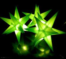 3er LED Außen-Stern-Set grün Außenstern Adventsstern Weihnachtsstern Outdoor