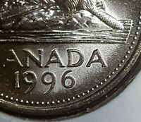 Canada 1996 Far 6 Gem BU Five Cents UNC MS Nickel!!