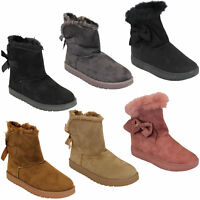 Ladies Snow Ankle Boots Womens Suede Fur Lined Snuggle Shoes Bow Winter New