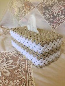 Crochet  Granny Tissue Box - Goldy/beige Sparkle and White