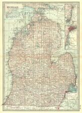 MICHIGAN. South; Inset Detroit, St Clair River 1903 old antique map plan chart