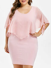 Plus Size Womens Overlay Sheer Bodycon Fitted Pink Party Dress Cocktail Evening