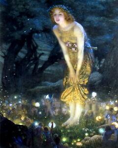 EDWARD HUGHES Print MIDSUMMER EVE Victorian Era Fairy Dance Mystery Fantasy Art