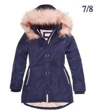 81bba3dee94ae Michael Kors Big Girls Hooded Jacket W  Faux Fur Trim in True Navy 7