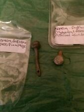 2 Roman Bronze Pins One Complete With Eye One Just The Patterned Head...
