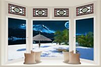 Huge 3D Bay Window Exotic Midnight Beach Sea View Wall Stickers Wallpaper 601