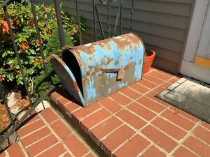 Antique Vintage Large Jumbo Metal Rural Mailbox Country Blue Paint Rusty
