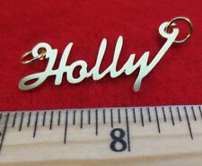 """14KT GOLD EP """"HOLLY"""" PERSONALIZED NAME PLATE WORD CHARM PENDANT 6158"""