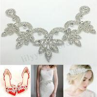 Crystal Rhinestone Applique Trim Iron on Wedding Bridal Belt Sash Dress Shoes