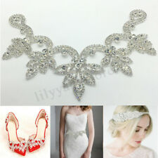 Crystal Rhinestone Applique Trim Iron on Wedding Bridal Belt Sash Dress  Shoes e21cdb7a008c