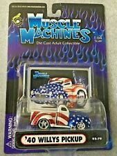 1:64 SCALE MUSCLE MACHINES '40 WILLYS PICKUP WITH STARS & STRIPES