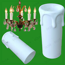 12x White Drip Candle Wax Effect Chandelier Light Bulb Cover Sleeve 55mm x 27mm