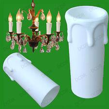 50x Blanc Goutte Bougie Cire Effet Chandelier Ampoule Lumière Poche Housse 55x27