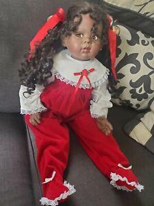 "Fatzah Spanos 1991 Vinyl Doll 27"" African American Christmas Outfit 62/1000"