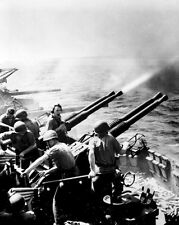 New 8x10 World War II Photo: 40mm Guns of the USS HORNET Firing on Japanese