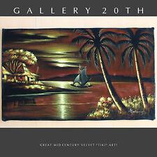 BEAUTIFUL! 50'S MID CENTURY MODERN TIKI VELVET PAINTING! WALL ART VTG ISLAND 60S
