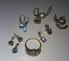 10k YG Lot Gemstone Ring, Earrings, Pendants