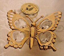 Austrian Crystal Mascot Intl. 24K Gold Plated Butterfly Sun Catcher 1996 Pierced
