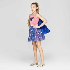 Dc Wonder Woman Star Pink Blue Flip Sequin Halloween Costume-Girl Size Xl(14-16)