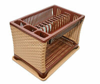 Plastic Dish Drainer Modern Two 2 Layer Rack Utensil Cutlery Light Brown Sides T