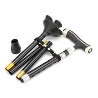 Foldable Adjustable Stable Aluminum Safety Walking Stick Quad Cane w/ LED Black