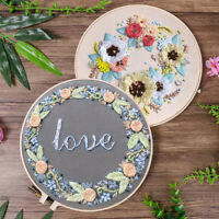 Flower Pattern Embroidery Craft Threads Stitch Kit Starter Craft Home Decoration