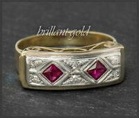 Antiker Art Deco Diamant & Rubin Ring,um 1900 Goldschmied Handarbeit, 585 Gold