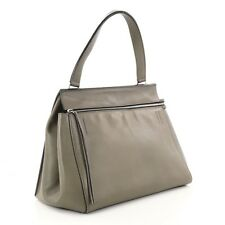 CELINE Large TAUPE 'EDGE' Leather Handle Zip Satchel Tote Handbag Bag Purse