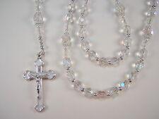 "Womens Crystal Rosary Catholic 17+"" Crystal AB Czech Glass Beads Rosario"