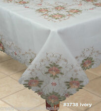 "Embroidered Peach Floral Sheer Tablecloth 70x104"" & 12 Napkins Ivory #3738W"