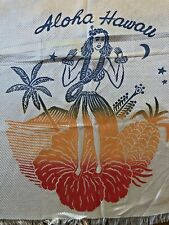 Vintage Aloha Scarf Souvenir Hawaii 1960s Rayon fringed edges
