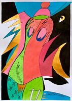 ORIGINAL watercolor painting paper artwork from artist signed surrealism art