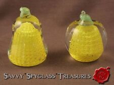 TWO John Gentile Yellow Controlled Bubble Apple Pear Fruit Paperweights