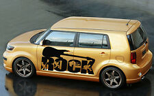 CAR SIDE DECOR VINYL GRAPHICS DECALS STICKERS Rock Word and Guitar MUSIC KJ1779