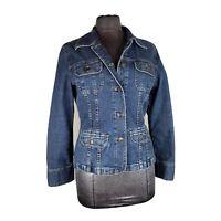 J Jill Women's Denim Blue  Structured Jean Jacket Size Small