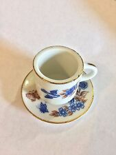 Vintage Lego Brand Small China Cup & Saucer, Reads Mom And Dad I Love You Both