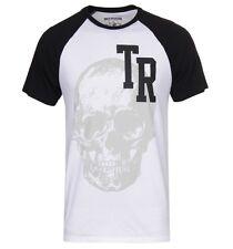 True Religon Jeans SKULLS GRAPHIC RAGLAN Tee T Shirt 100% Cotton Top~Mens sz Lrg