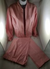 Womens SAG HARBOR Pink Pant 6P Jacket 10P Set Floral Embroidery Polyester Petite