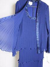 $179 Size 8 New Patra Purple One Piece Tiered Chiffon Mock Jacket Dress (9649)