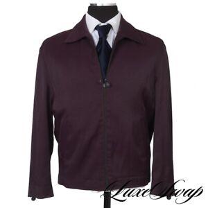 Versus Versace Made in Italy Aubergine Grape Microfiber Sheen Zip Jacket 50 NR