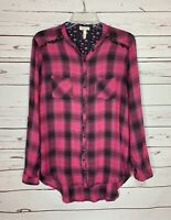 Matilda Jane Women's S Small Pink Plaid Cute Spring Button Top Blouse Shirt MJ