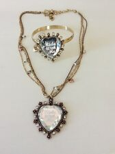 Betsey Johnson Necklace  Ride With Me Heart Pendant With Bracelet Set