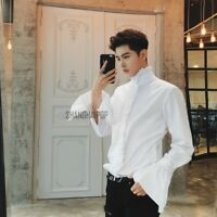 Men Gothic Shirt Top Victorian Ruffle Collar Punk Puff Sleeve Retro White New