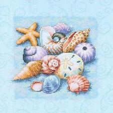 Cross Stitch Kit ~ Dimensions Beach Starfish & Sea Shells on Blue #13725