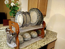 2-Tier Stainless Steel + Wooden Dish Bowl Cup Rack Kitchen Drainer Dryer Tray