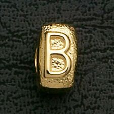 European Beads Charms Initial B Gold Plated Stainless Steel Charm Bracelet Bead
