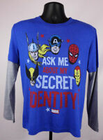 Ask Me About My Identity Marvel Comics Shirt Boy's Large Long Sleeve New ST165