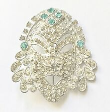 Crystal Face Brooch / Pin  Rare Art Deco Clear Aquamarine